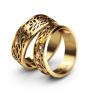 Wedding Band His And Hers-14K Yellow Gold Wedding Rings-Couples Matching Band Set