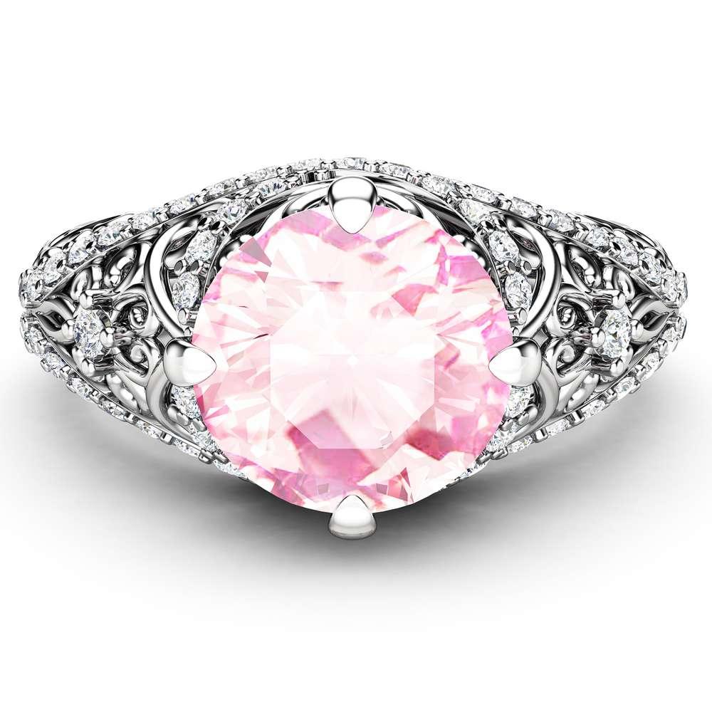 2 Carat Moissanite Engagement Ring Unique Pink Moissanite Wedding Ring 14K White Gold Ring Art Nouveau Engagement Ring