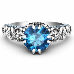 Vintage Blue Diamond Engagement Ring 14K White Gold Engagement Ring Unique Diamond Ring