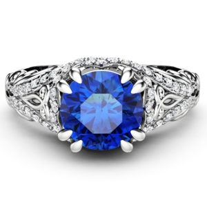Blue Sapphire Engagement Ring 1 Ct Round Cut Sapphire Wedding Ring 14K White Gold Band