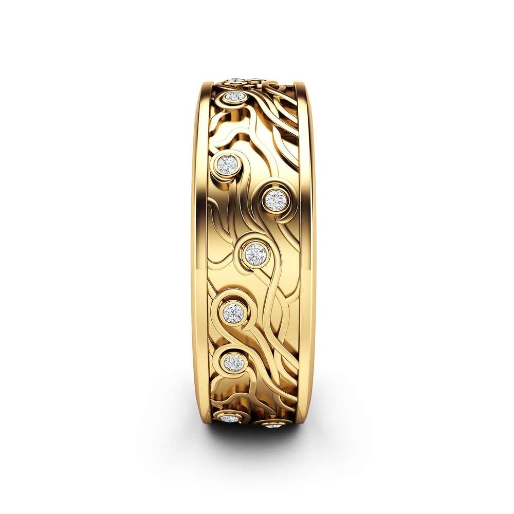 14K Yellow Gold Womens Wedding Band Women Celtic Ring Natural Diamonds Wedding Band