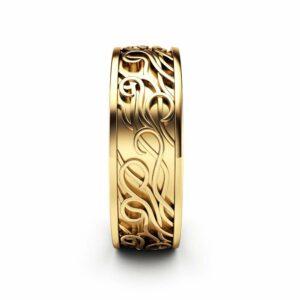 Mens Wedding Band Celtic Men Ring 14K Yellow Gold Wedding Band