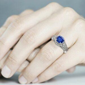 Handmade Sapphire Engagement Ring 14K White Gold Sapphire Ring Gemstone Round Cut Engagement Ring
