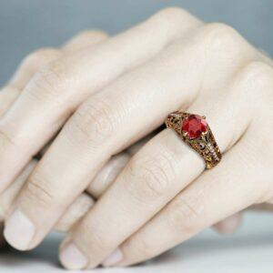 Filigree Art Deco Ruby Gemstone Engagement Ring Ruby Wedding Rings 14K Yellow Ring