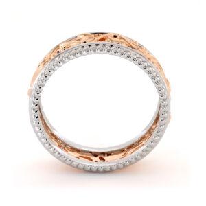 Two Tone Wedding Ring 14K Two Tone rose & white Gold Ring Unique Wedding Band