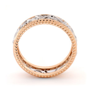 Two Tone Wedding Ring 14K Two Tone White & Rose Gold Ring Unique Wedding Band