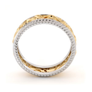 Two Tone Wedding Ring 14K Two Tone White & Yellow Gold Ring Unique Wedding Band