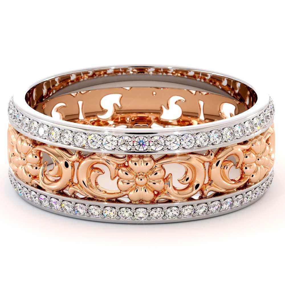 Unique Natural Diamonds Wedding Band 14K Two Tone Gold Ring Unique Wedding Band