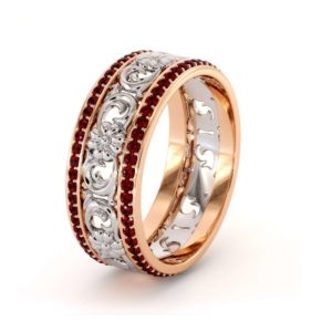 Unique Natural Ruby Wedding Band 14K Two Tone Gold Ring Unique Wedding Band