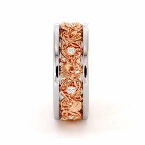 Filigree Women's Wedding Band-Wedding Band Rose & White Gold-14K Two Tone Wedding Ring
