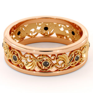 Filigree Women's Wedding Band-Wedding Band Rose & Yellow Gold-14K Two Tone Wedding Ring