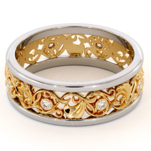 Filigree Women's Wedding Band-Wedding Band Yellow & White Gold-14K Two Tone Wedding Ring