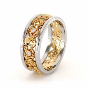 Filigree Women's Wedding Band-Wedding Band Yellow & White Gold-14K Two Tone Wedding Ring