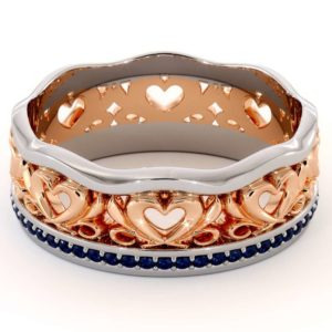 Unique Wedding Band 14K Two Tone Gold Ring Unique Heart Wedding Band