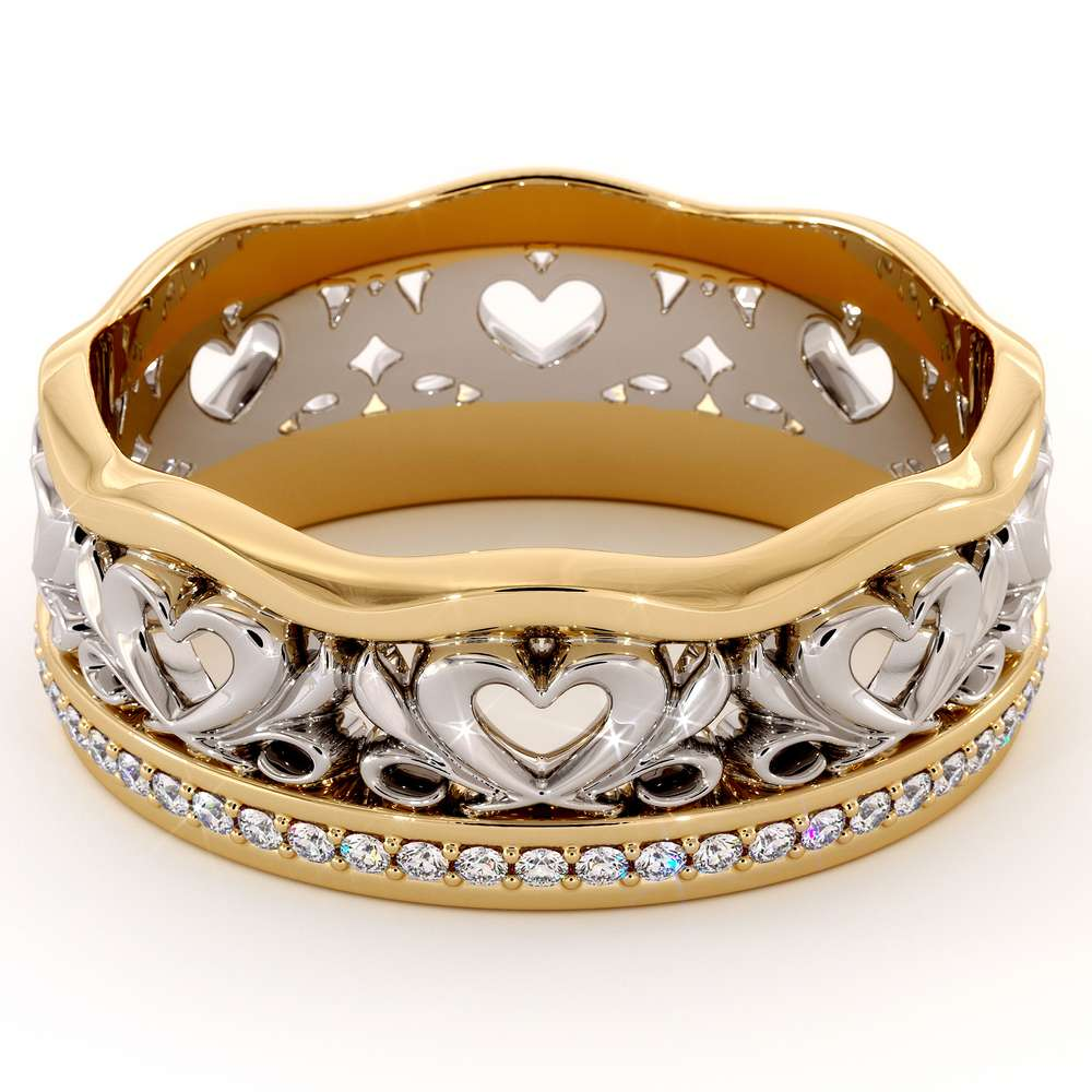 Unique Wedding Band 14K Two Tone Gold Band Unique Heart Wedding Ring