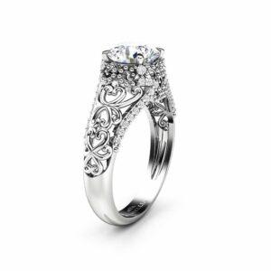 Moissanite Engagement Ring 14K White Gold Ring Milgrain Ring Natural Diamonds Engagement Ring