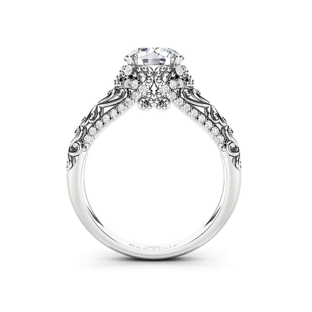 Moissanite Engagement Ring 14K White Gold Ring Milgrain Ring Natural Diamonds Engagement Ring