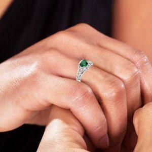 Emerald Engagement Ring 14K White Gold Ring Milgrain Ring Natural Diamonds Engagement Ring