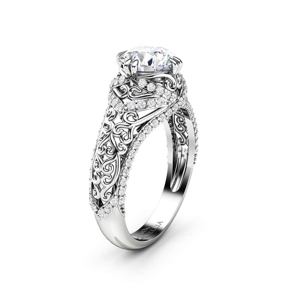 Moissanite Engagement Ring 14K White Gold Ring Forever One Moissanite & Natural Diamonds Engagement Ring