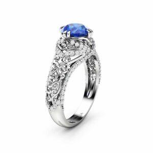 Blue Sapphire Engagement Ring 14K White Gold Ring Natural Gemstone & Natural Diamonds Engagement Ring