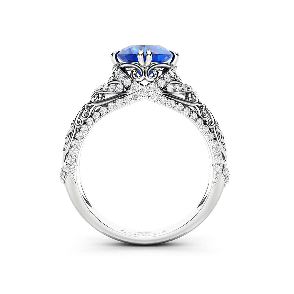 Blue Sapphire Engagement Ring 14K White Gold Ring Natural Gemstone & Natural Diamonds Engagement Ring