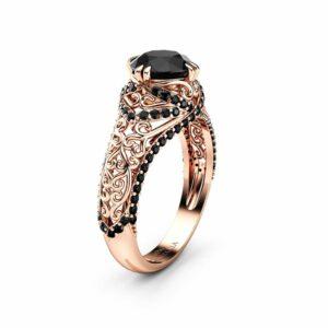 Black Diamond Engagement Ring 14K Rose Gold Ring Art Deco Ring Natural Diamonds Engagement Ring