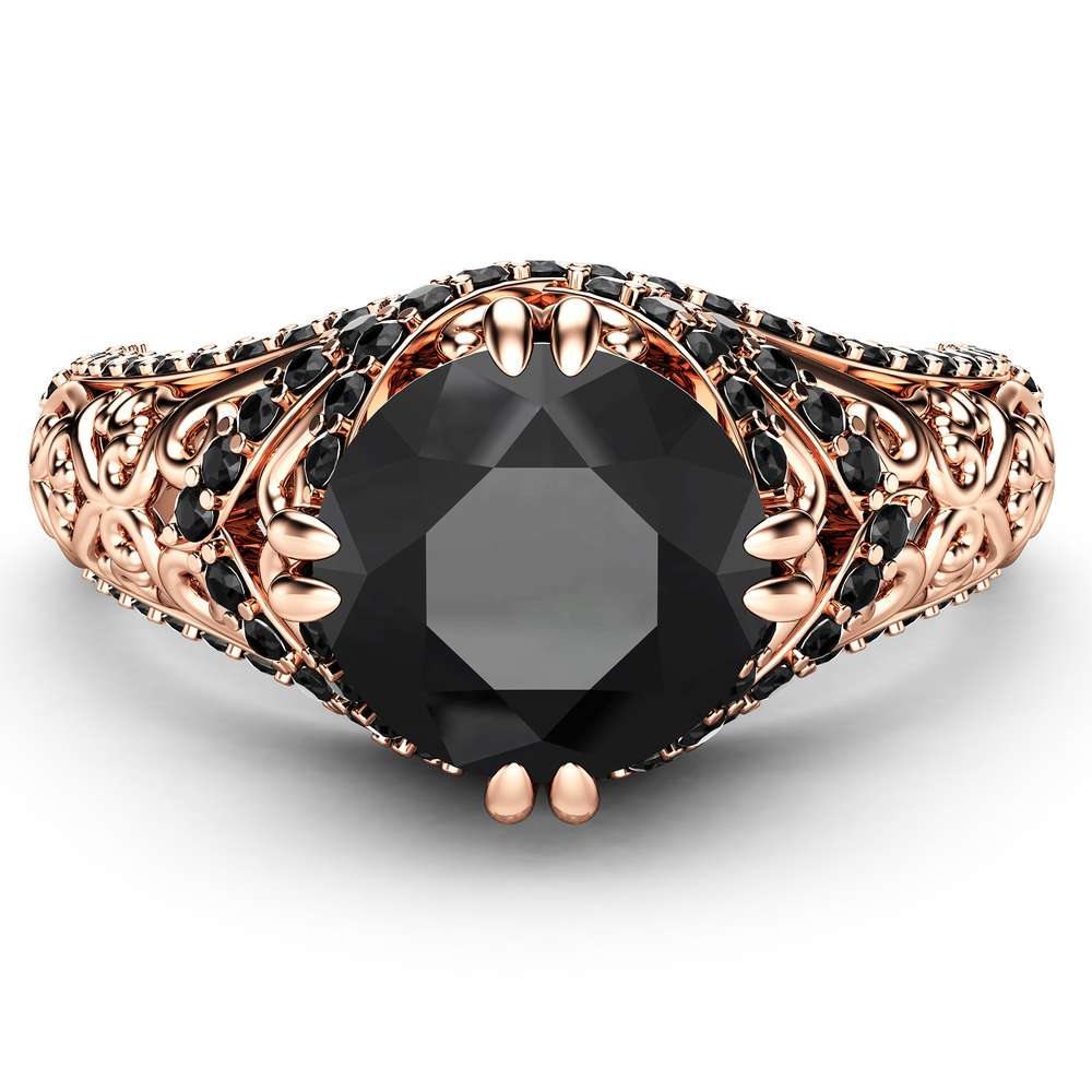 Black Diamond Engagement Ring 14K Rose Gold Ring Art Deco Ring Natural Diamonds Engagement Ring