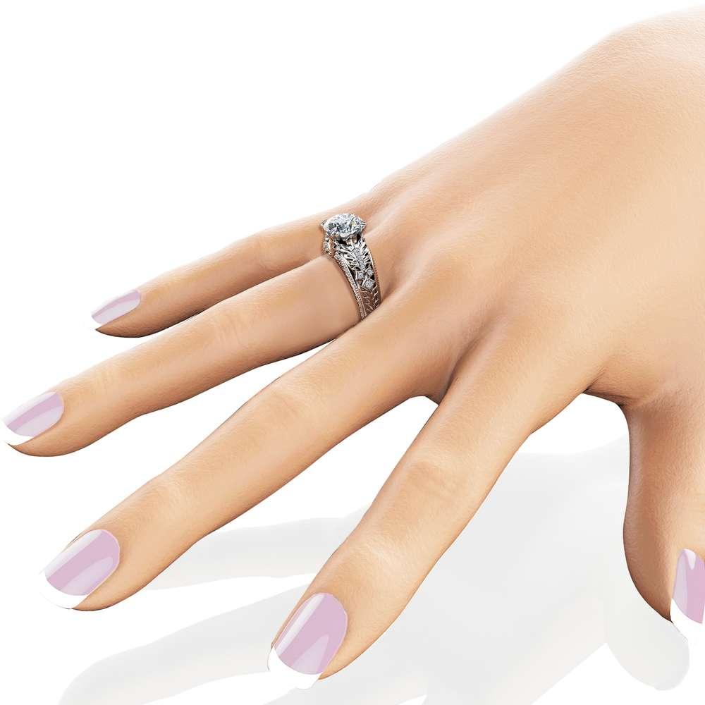 Diamonds Engagement Ring Unique 2 Carat Moissanite Ring Solid 14K White Gold Ring Art Deco Leaf Engagement Ring