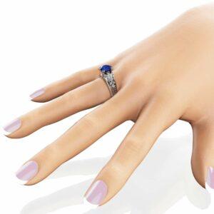 2 Carat Blue Sapphire Engagement Ring 14K White Gold Ring Unique Art Deco Sapphire Engagement Ring