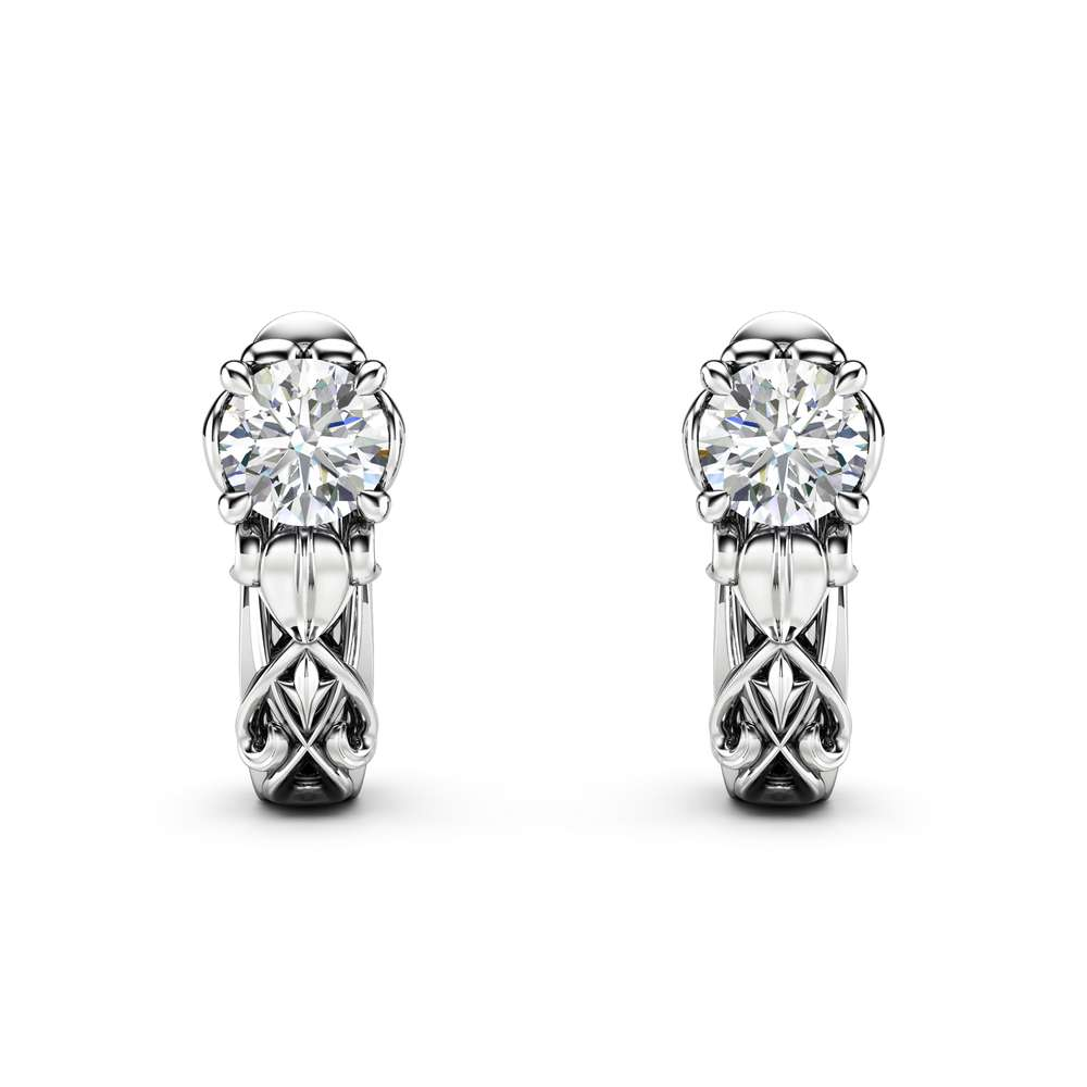 Unique Diamond Earrings 14K White Gold Earrings Unique Diamond Jewelry Anniversary Gift