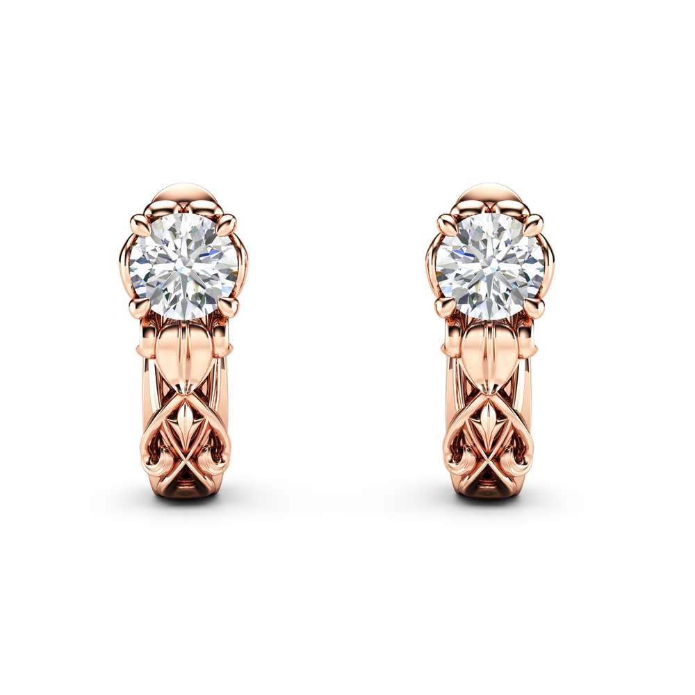 Unique Diamond Earrings 14K Rose Gold Earrings Unique Diamond Jewelry Anniversary Gift