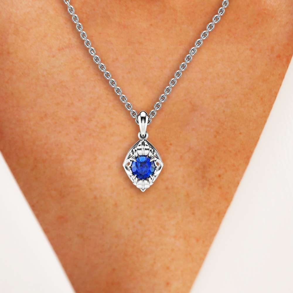 Sapphire Pendant Jewelry 14K White Gold Sapphire Jewelry Gold Necklace Anniversary Gift