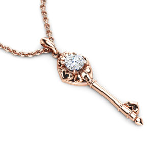 Gold Key Necklace Lab Diamond Pendant 14K Rose Gold Necklace Lab Created Diamond Necklace Unique Key Necklace