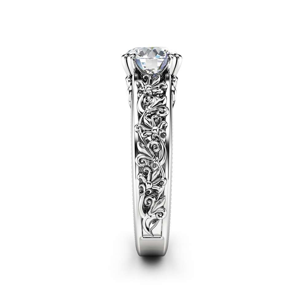 Unique Moissanite Engagement Ring 14K White Gold Filigree Ring Leaf Ring Engagement Ring