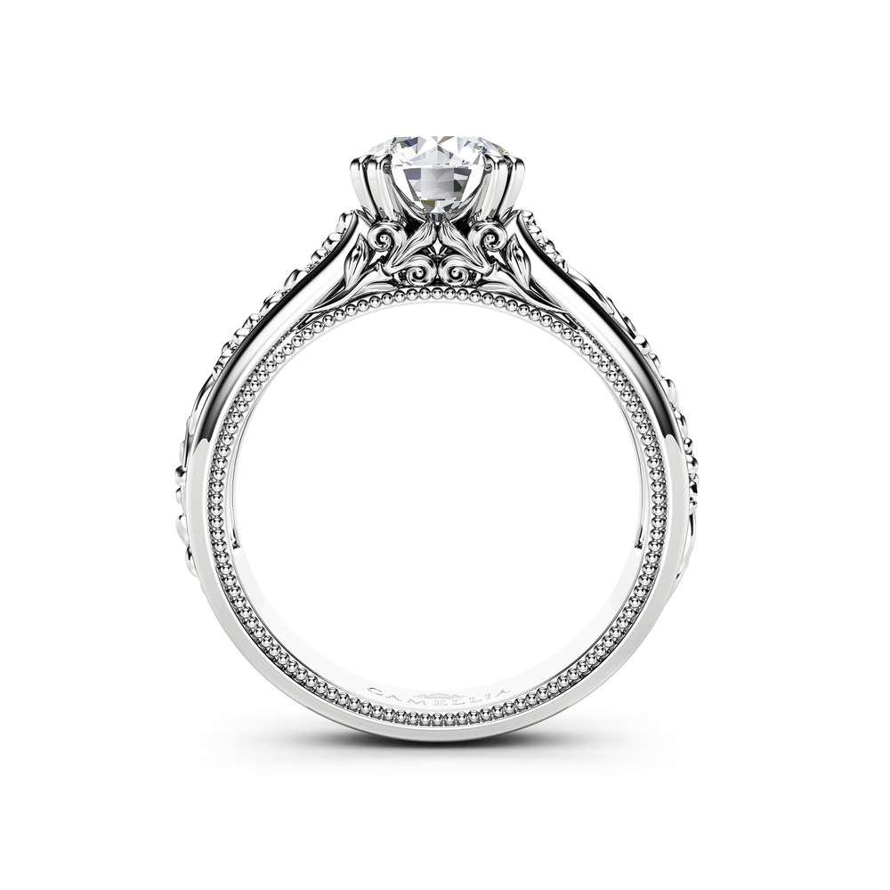 Unique Engagement Ring Set 14K White Gold Bridal Set Unique Wedding Set Leaf Ring Set