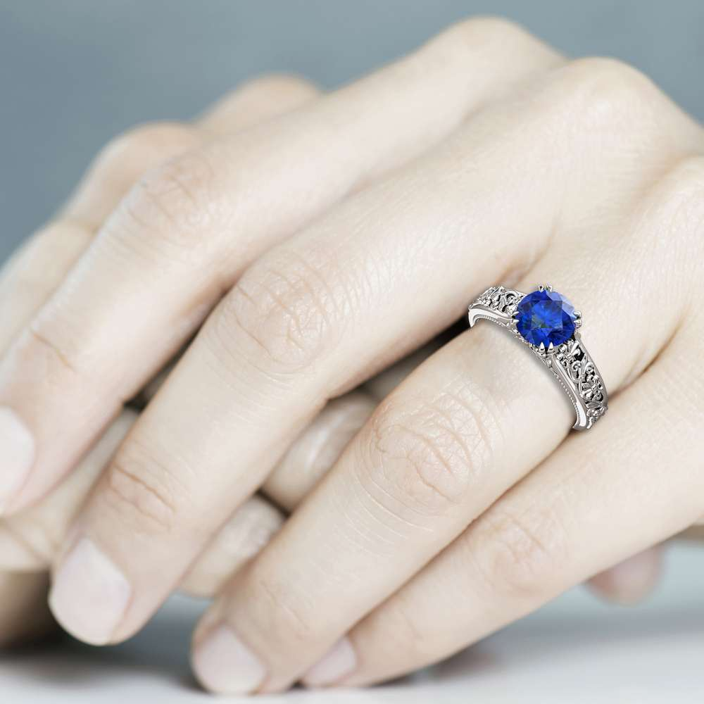 Natural Blue Sapphire Ring, White Gold Ring, Unique Engagement Ring, September Birthstone Ring