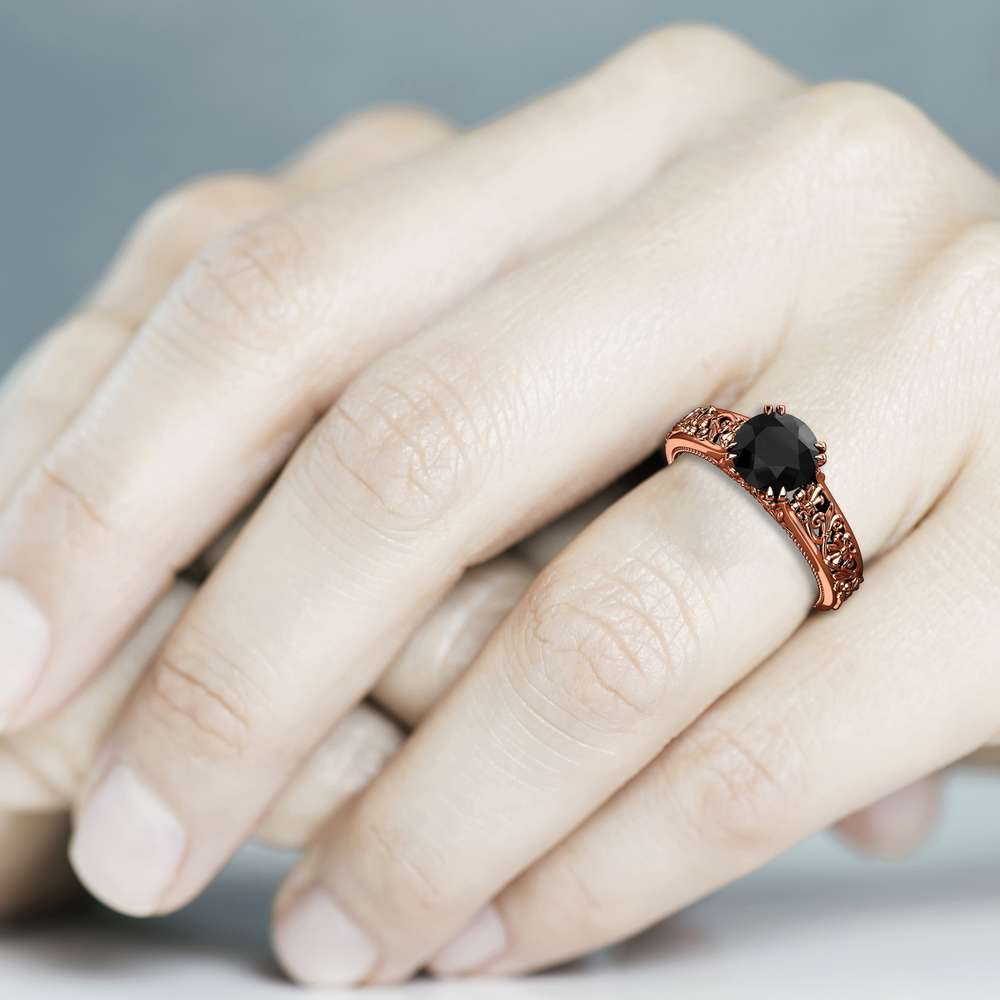 Unique Black Diamond Engagement Ring 14K Rose Gold Solitaire Ring Leaf Ring Anniversary Gift