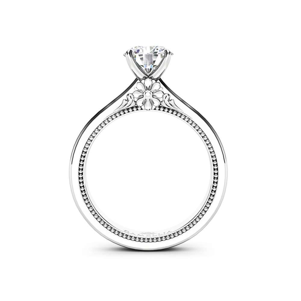 Lab Grown Diamond Ring 14K White & Rose Gold Ring CVD Diamond Engagement Ring Victorian Wedding Ring