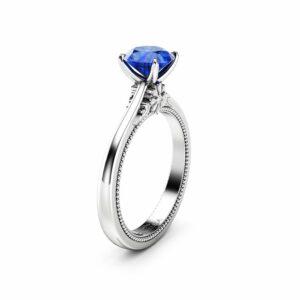 Natural Blue Sapphire Engagement Ring Round Cut Genuine Blue Sapphire Ring White Gold Milgrain Ring
