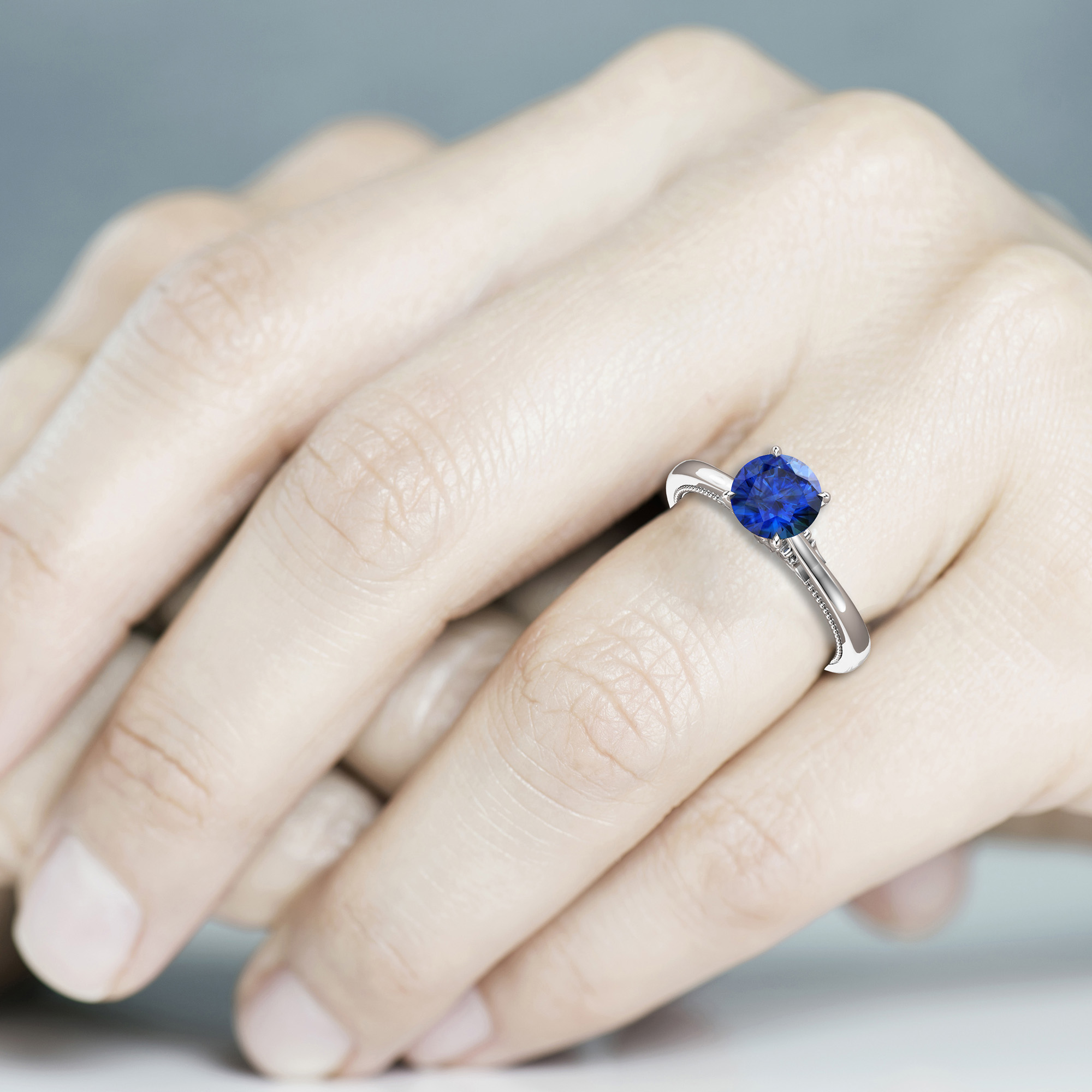 Natural Blue Sapphire Engagement Ring Round Cut Genuine Blue Sapphire Ring White Gold Milgrain Ring