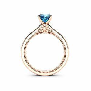 Natural Blue Diamond Engagement Ring  14K Rose Gold Estate Ring Unique Blue Diamond Anniversary Gift
