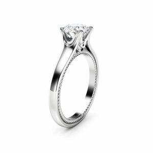 Celtic Moissanite Engagement Ring 14K White Gold Ring Unique Engagement Ring Classic Anniversary Ring