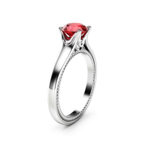 Solitaire Ruby Engagement Ring 14K White Gold Ring Celtic Engagement Ring Unique Ruby Anniversary Ring