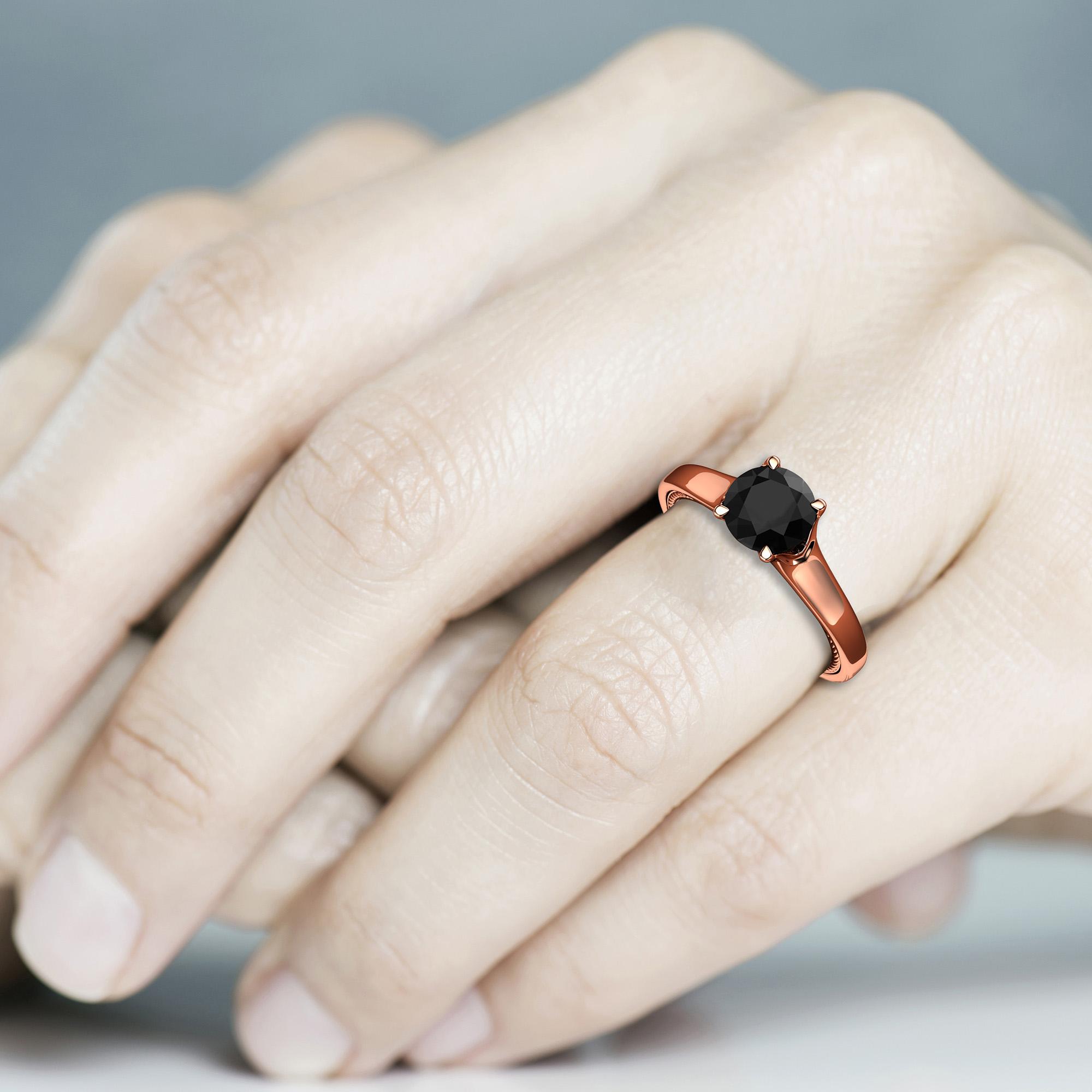 Natural Black Diamond Engagement Ring 14K Rose Gold Ring Celtic Design Black Diamond Engagement Ring