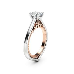 Lab Grown Diamond Ring 18K White & Rose Gold Ring CVD Diamond Engagement Ring Victorian Wedding Ring