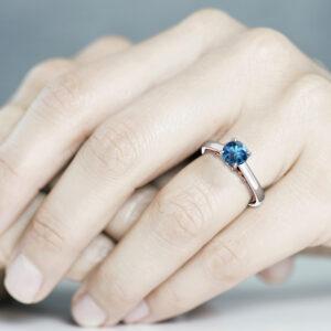 Natural Blue Diamond Engagement Ring 18K White & Rose Gold Ring Unique Diamond Ring Victorian Engagement Ring