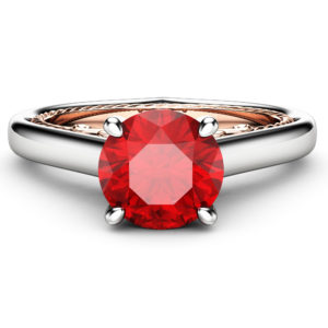 Natural Ruby Engagement Ring 18K White & Rose Gold Ring Unique Gemstone Ring Victorian Engagement Ring