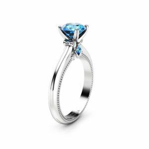 Blue Diamond Engagement Ring Unique 14K White Gold Ring Victorian Diamond Engagement Ring
