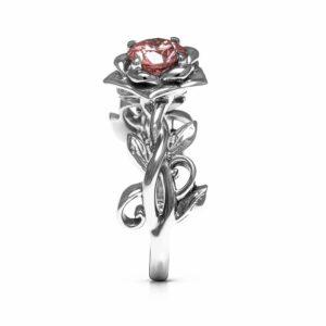 Lab Grown Pink Diamond Engagement Ring Leaf Engagement Ring