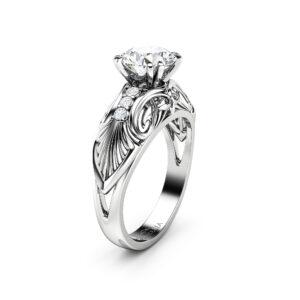 Forever One Round Moissanite Engagement Ring White Gold Diamond Alternative Wedding Ring Art Nouveau Moissanite Engagement Ring